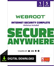 Webroot Internet Security Complete with Antivirus Protection – 2019 Software | 5 Device | 1 Year Subscription | PC Download