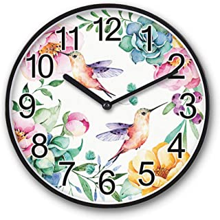 Wall Clock Non Ticking Silent Round Battery Operated Quartz Sweeping Movement Framed Clock Arabic Numeral Quiet Whisper Cu...