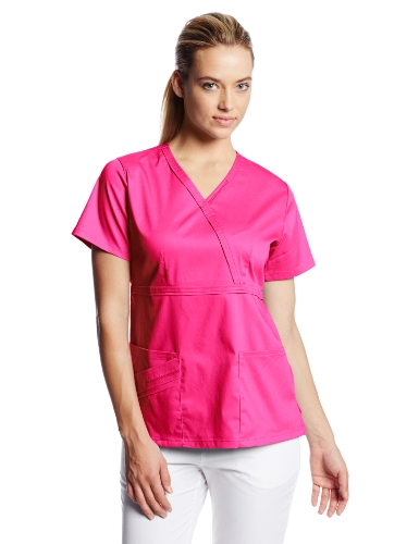 CHEROKEE Women's 1841 Mock Wrap Zig Zag Scrub Top, Fuchsia Rose, XXXX-Large