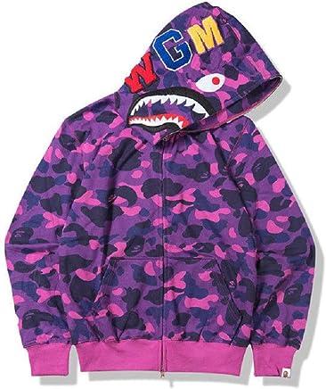 ce073cb0432 New Bathing Ape Bape Shark Jaw Camo Full Zipper Hoodie Men s Sweats Coat  Jacket