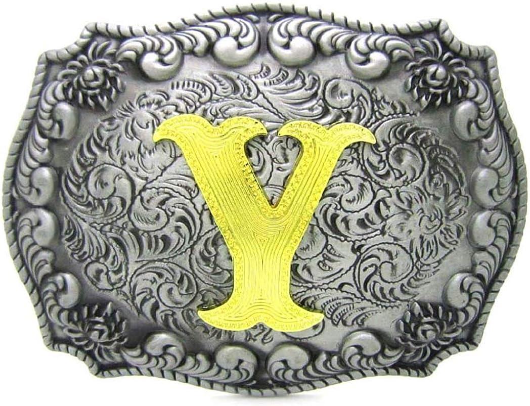 Initial Letters Belt Buckle,Western Rodeo Belt Buckles for Men A to Z Large Cowboy belt buckle