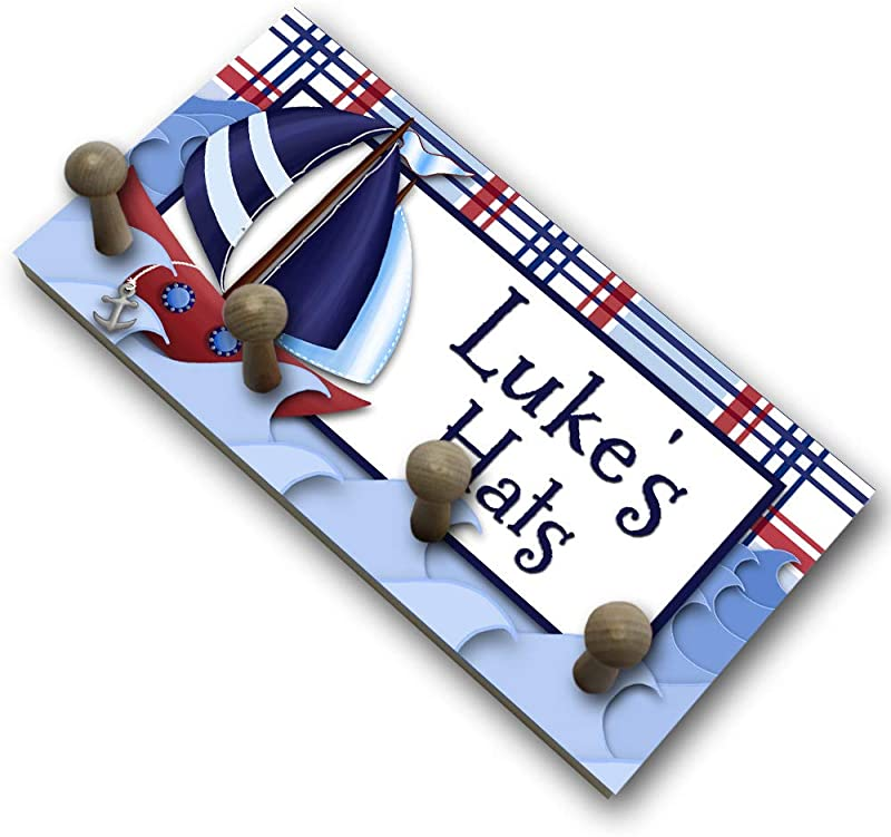 Toad And Lily Navy Blue Red Sail Boat Nautical HAT Holder Personalized Hat Holder Clothing Rack Hat Organizer For Boys HH0007