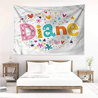 Sunnyhome DIY Tapestry,Diane Festive Baby Girl Name,Tapestry for Home Decor,W90x59L