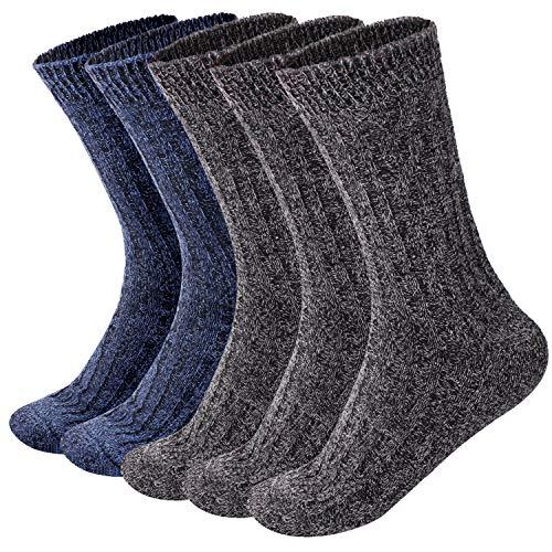 ElifeAcc Herren Wolle Socken Dicke Warme Wollsocken für Herren Classic 5er Paar (EUR 45-50)