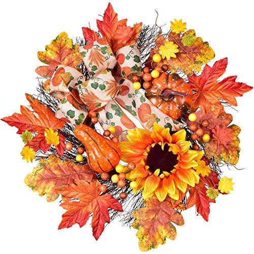 YQing 45cm Künstlich Herbstlaub Sonnenblume Ahornkranz, Kranz Haustür Türkranz Dekoration unechte Pflanzen mit Ahornblätter, Beeren Bogenknoten Kürbis Herbst Dekoration