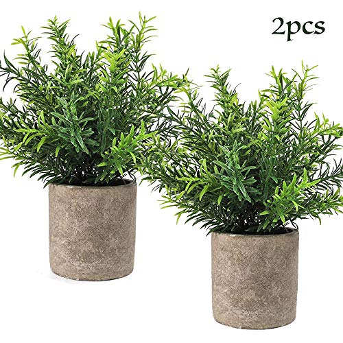 CEWOR 2pcs Artificial Potted Plants Mini Fake Plastic Bamboo Leaves Plants for Home Office Party Decoration