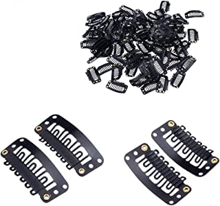 QsuF Hair 20 Pcs Wig Clips Black U-Shape Metal Snap Clips 6 Teeth Combs For Wig Hair Extensions Snap Hair Clips For Women ...