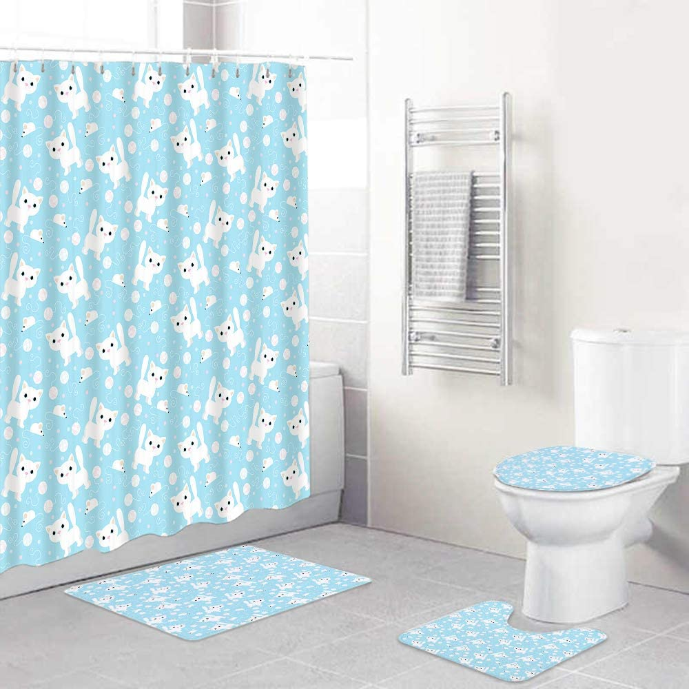 FOURFOOL 4pcs Shower Curtain Sets Lid Non-Slip Rugs Toilet High quality with Max 61% OFF