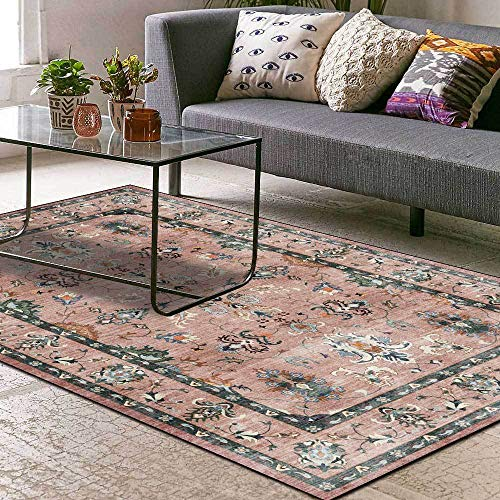 Tapis Salon Antidérapant Tapis Chambre Grande Taille Tapis Moderne Country Flower Ethnic Style Dark Pink 160 x 200 cm(5'3''x6'6'')