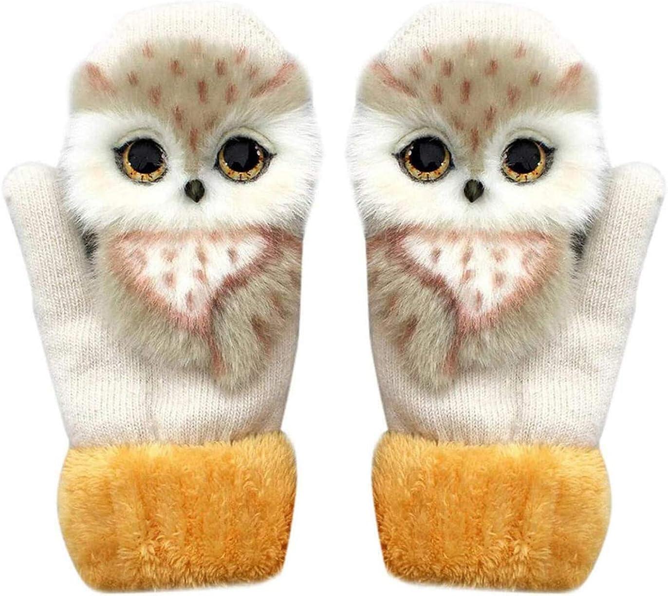 Dees Women's Soft Hand-knitted Gloves, Handmade 3D Cartoon Animal Gloves Hand Warmer Mitten Gloves for Xmas Gifts.