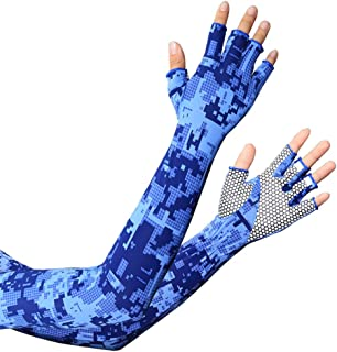 UV Protection Gloved Arm Sleeves for Men & Women Cycling Ice Arm Sleeve Fingerless Sun Compression Long Arm Cover