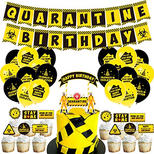 Quarantine decoration theme epidemic situation flag birthday cake card inserting virus balloon suit isolation party, include 1 birthday flag,1 set of 24 isolated party cake cards,20 party balloons,1 isolated party big cake card,1 coil,1 piece of glue