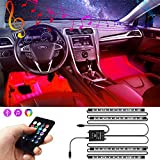 Car Interior Lights, innislink Two-Line Design USB Car LED Strip Lights With Remote Control, 4pcs 48 LED Multi DIY Color Music Interior Car Lighting Kit With Sound Active Function, Waterproof, DC 5V
