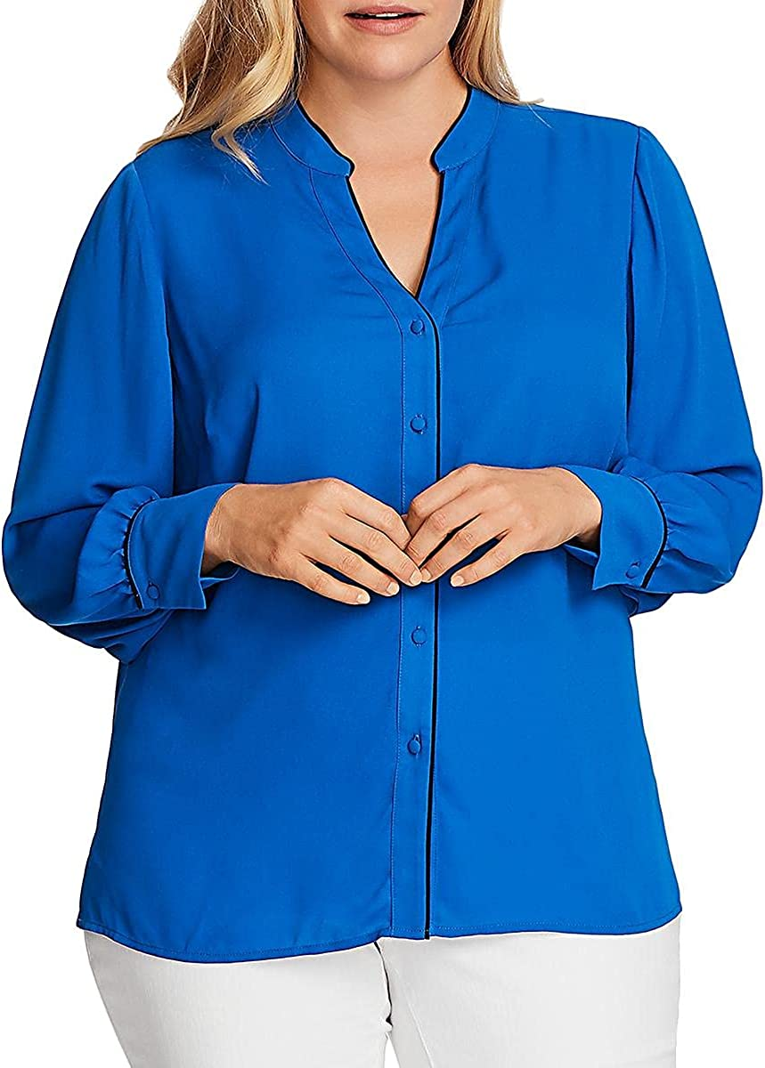 Vince Camuto Womens Sheer Hi-Low Blouse Blue 3X