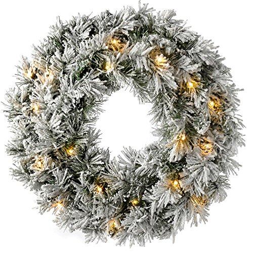WeRChristmas Pre-Lit LED Snow Flocked Spruce Wreath Christmas Decoration - 60 x 60 x 7.5 cm, White