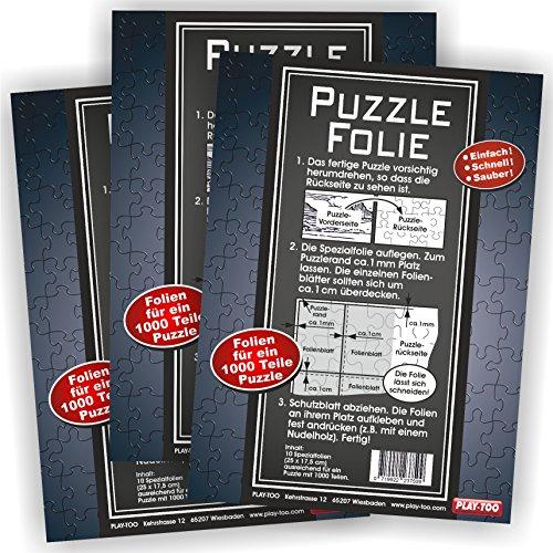 Play-Too 3er Set Puzzlefolie 30 Blatt Einfach! Schnell! Sauber! hält Superfest! Optimal für 3 x 1000 Teile oder 6 x 500 T eile Puzzle