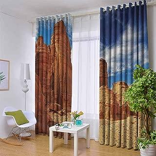 Blue Curtains Desert,Bizarre Sandstone Cliffs in Sahara Desert Tassili NAjjer Algeria, Navy Blue Mustard Orange,W52 by L84 Inch Room Darkening
