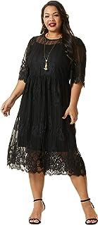 SONJA BETRO Women's Plus Size Lace Scoopneck Elbow Length Sleeve Empire Midi Dress/104BLACK/Tag Size 1X=XX-Large