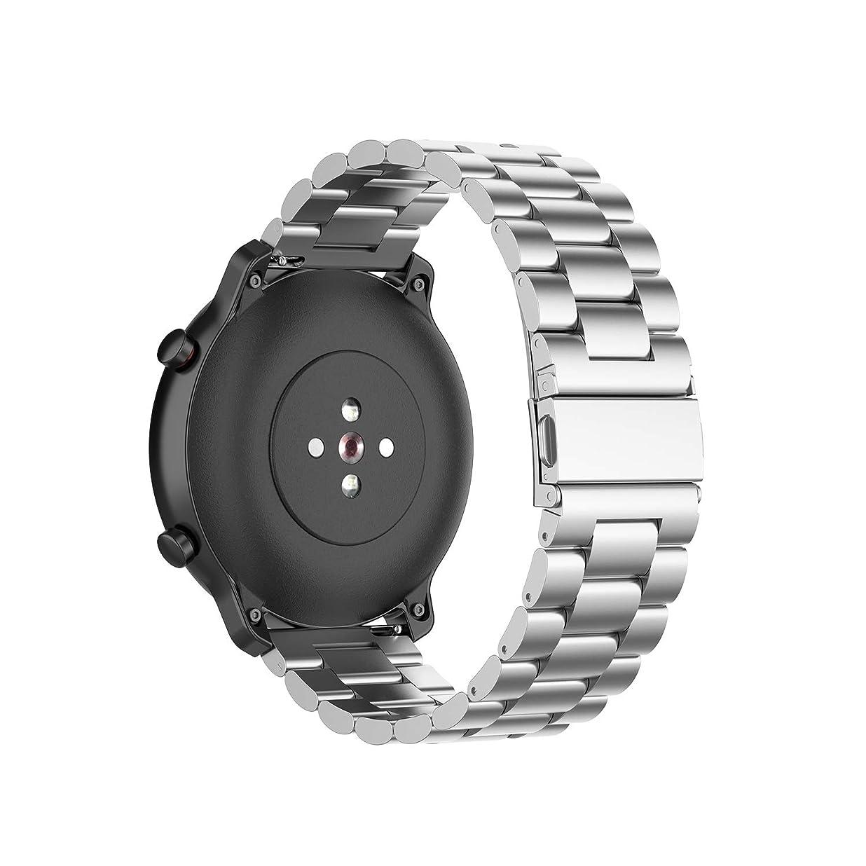 潜在的な浜辺あなたのものMotivaJP Amazfit GTR 42mm スマートウォッチバンド 20mm ステンレス鋼 腕時計ストラップ 交換ベルト (シルバー)