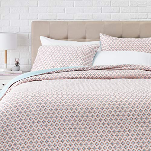 AmazonBasics Super-Soft Cotton Duvet Comforter Cover Set - King/Cal King, Multicolored Medallion