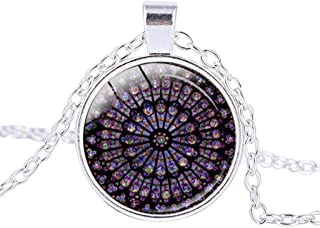 Ouniman Rose Window Hanging Ornament Notre Dame de Paris Memorial Necklace for Women Men - Silver