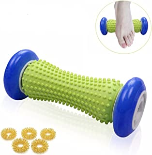 HOUSWOUKER Foot Massage Roller Trigger for Pain Relief Plantar Fasciitis and Heel Foot Arch Pain,Roll and Stretch Sports Tool Relax Shoulder,Legs,Arms,Hands,Neck with 5Pcs Acupressure Massage Rings