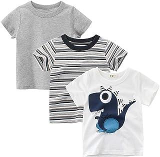 Guozyun Toddlers Boys T-Shirt Organic Cotton Tops Tees Short Sleeve Shirt Undershirt for Baby Boys Kids Little Boy