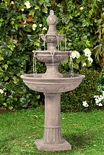Lamps Plus Stafford Italian Outdoor Floor Water Fountain 48' High Three Tiered for Yard Garden Patio Deck Home - John Timberland