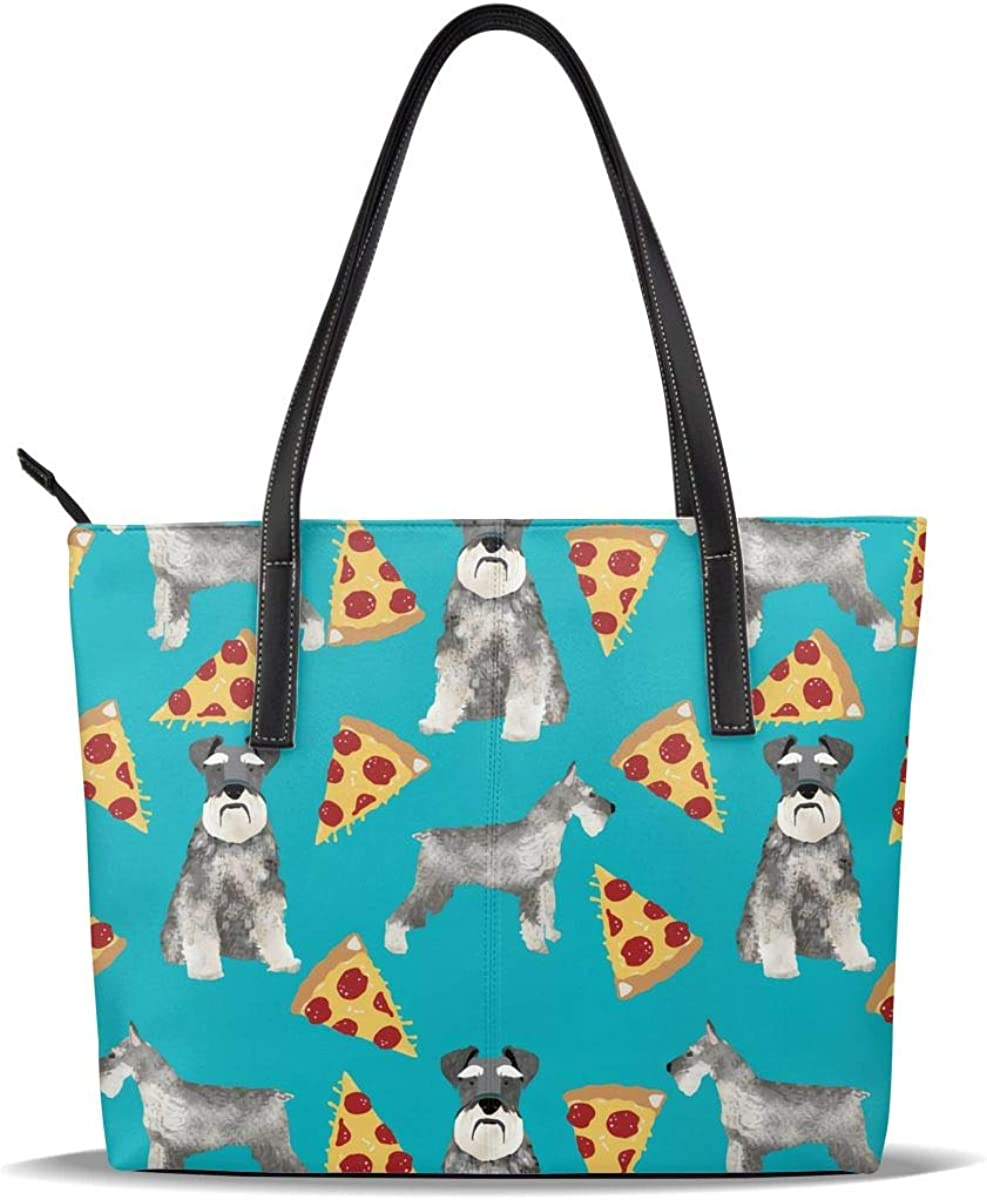Schnauzer Pizza Art We OFFer at cheap prices Dog Blue PU Leather Casual Printed Pattern H Max 81% OFF