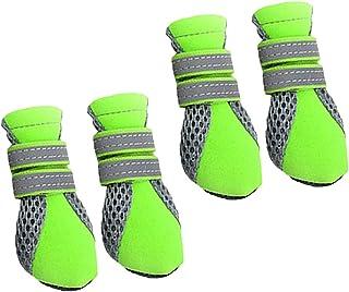 Générique 4 Bottes Hydrofuge Anti-dérapant Chaussures Chaussette Protection pour Animaux Chiot Chien - Vert, M