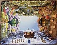 油絵 数字キットによる絵画 塗り絵 大人 手塗り Diy絵 デジタル油絵四季の回転-Diyフレーム 40* 50 Cm