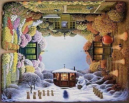 YRWDNV Peinture par Numéro Adulte avec Pinceaux et Acryliques Bricolage Peintures Kits pour Adultes Enfants Débutant,Quatre Saisons Décoration d'intérieur Cadeau 40x50cm (sans Cadre)