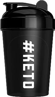 Keto Shaker Bottle, BPA Free, Tight Lid, and Mixing Technology, 16 oz, Black (#Keto Design)