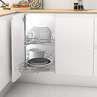 Casaenorden - Kit de 2 bandejas giratorias 180º de Rejilla para Mueble de Cocina rinconero - Mueble esquinero de Cocina - Ancho Puerta 450mm / Alto Producto 730-780mm