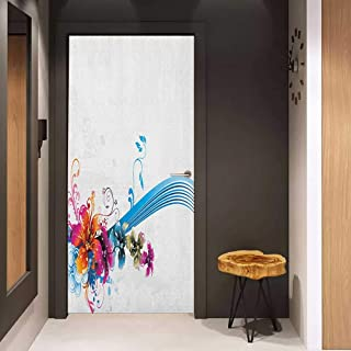Onefzc Soliciting Sticker for Door Floral Abstract Fantasy Blossoms Border Colorful and Grunge Display Spring Leaves Swirls Mural Wallpaper W31 x H79 Multicolor