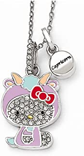 Jewelry Pendants & Charms Birthstone Sterling Silver Hello Kitty Crystal/Gold-tone/Enamel Capricorn Necklace