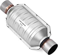 YITAMOTOR 2.25 inch In & Out Catalytic Converter with O2 Nut Universal Stainless Steel High Flow Converter (EPA Compliant)