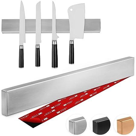 Thingles Barre à Couteaux aimantée de 40 cm I Porte-Couteaux Magnetique I Bandeau magnetique de Suspension pour Couteaux en Acier Inoxydable avec Ruban adhésif 3M VHB I Installer avec ou sans Vis