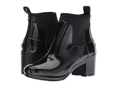 Hunter Refined Mid Heel Gloss Rain Boots (Black) Women