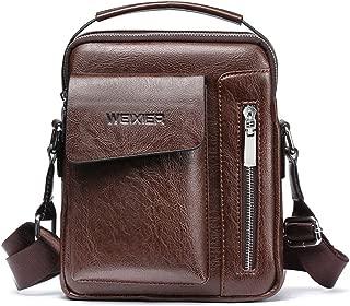 Men's Shoulder Bag, Popoti Leather Shoulder Bag Handbag Schoolbag Vintage Crossbody Bags Daypack Briefcase Multifunctional Messenger Bag (Dark Brown)