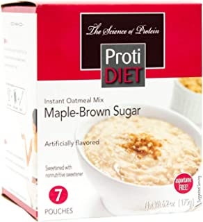 ProtiDiet Oatmeal - Maple Brown Sugar (7/Box) - High Protein 15g - Low Calorie - Low Fat