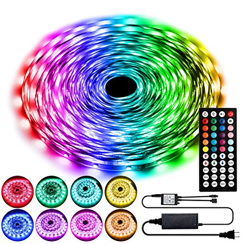 LED Strip Lights 15M,Colour Changing LED Light Strip,SMD 5050 RGB LED String Lights with 44-Key IR Remote, Flexible LED Tape Lights Kit for Bedroom Ceiling DIY Home Party Decoration