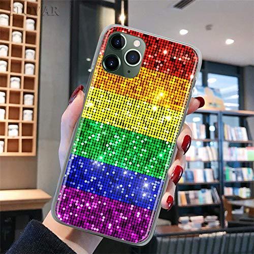 Estuche para teléfono Rainbow LGBT Gay Pride para iPhone 11 12 Pro MAX Mini 7 8 11 X XR XS MAX 6 6s 7 8 Plus 5S SE Fundas rígidas para PC con rayas de igualdad