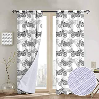 Aishare Store Blackout Curtain,Motorcycle Realistic Grayscale Illustration of Classic Motorcycles with Many Details, W97 x L85 Inch,Grey White Black