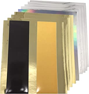 Gold Silver Metallic Chrome Mirror, Holographic Rainbow Oilslick, Reflective Permanent Vinyl 11 Sheets Assorted for Cricut Expression Explore Silhouette Cameo Make Adhesive Backed Vinyl Decals Signs