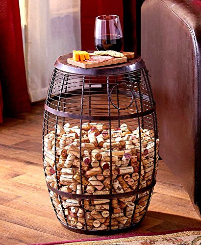 Cork Holder Barrel Accent Table