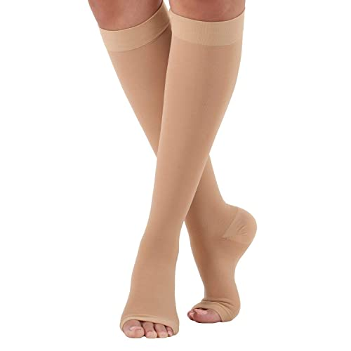 c8a8f1790 Made in the USA - Mojo Compression Socks Firm Support Hose Unisex Opaque  Open Toe -