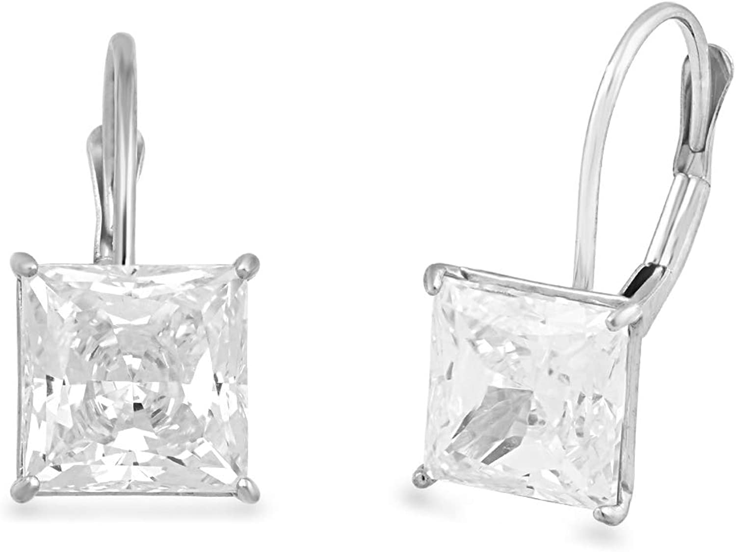 Jewelili 10K White Gold 7mm Square White Cubic Zirconia Clip On Earrings