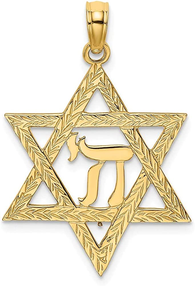 14k Yellow Gold Jewish Jewelry Star Of David Chi Center Pendant Charm Necklace Religious Judaica Fine Jewelry For Women Gifts For Her
