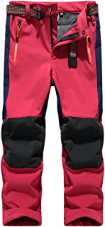 Jessie Kidden Kids' Outdoor Hiking Soft Shell Windproof Waterproof Snow Ski Pants, Warm Climbing Insulated Trousers for Bo...